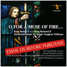 O FOR A MUSE OF FIRE... CD COVER