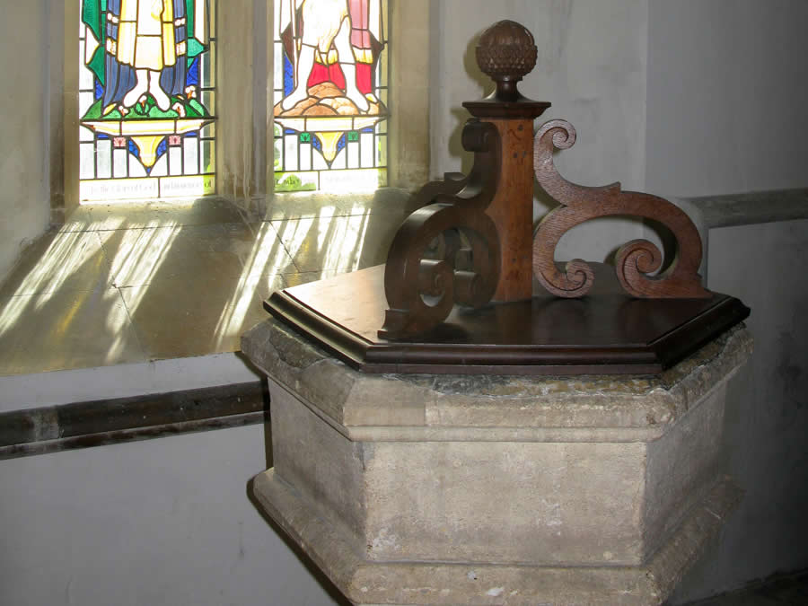 The Font at Down Ampney at which Vaughan Williams was baptised and nearly dropped!