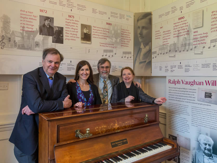 Simon Coombs, Gabrielle Gale, John Francis and Karen Fletcher and RVW's piano at Leith Hill Place
